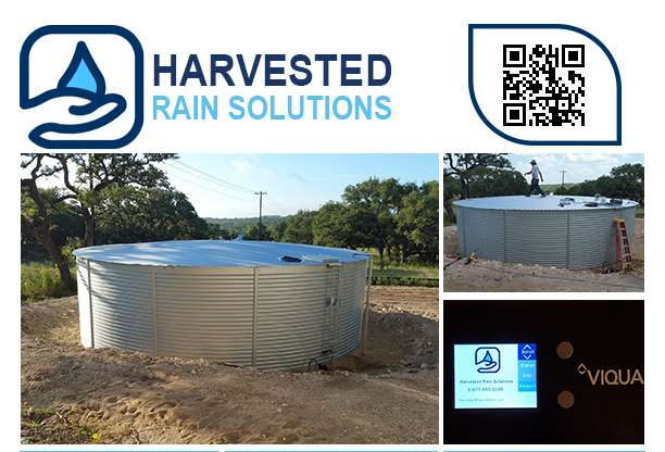 Drinking water storage tanks in Texas by Harvested Rain Solutions