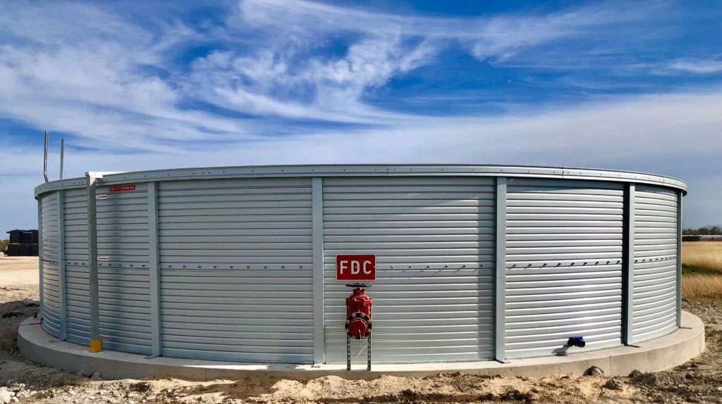 Fire protection water tanks in Texas